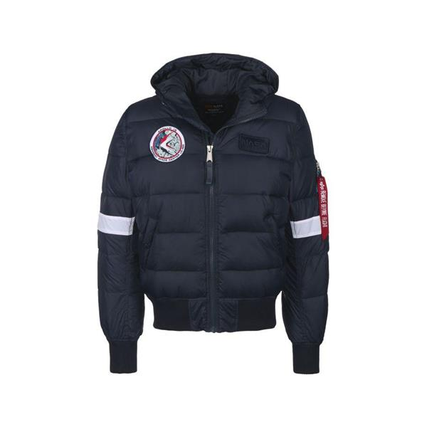 ALPHA INDUSTRIE GIACCA HOODED PUFFER - BLU SCURO - 198121-07