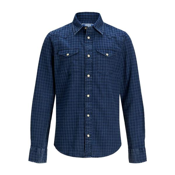 JACK & JONES CAMICIA - BLU DENIM - 12168182-BLU