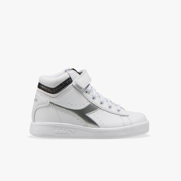 DIADORA GAME P HIGH GIRL PS - BIANCO/ARGENTO/NERO -101.176726-C0351