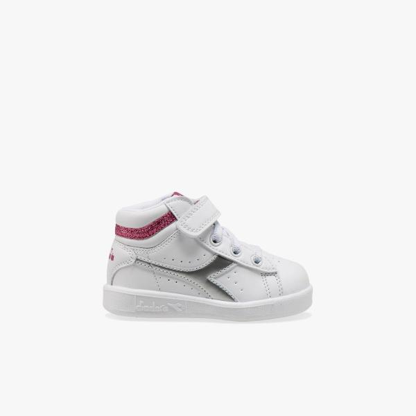 DIADORA GAME P HIGH GIRL TD - BIANCO/ARGENTO/FUXIA - 101.176727-C1639